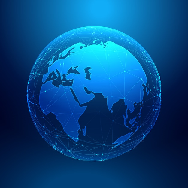 blue earth on wireframe network mesh Free Vector