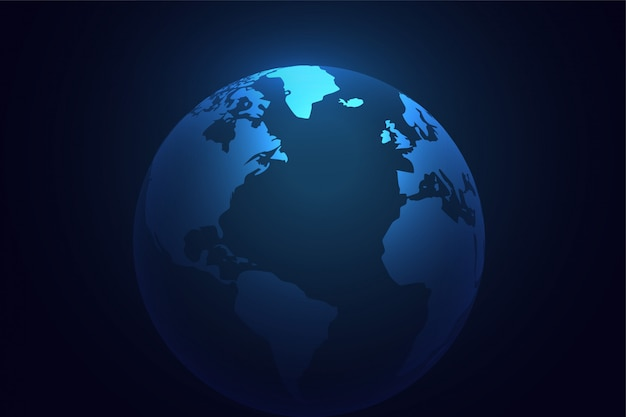 Blue earth planet world background Free Vector