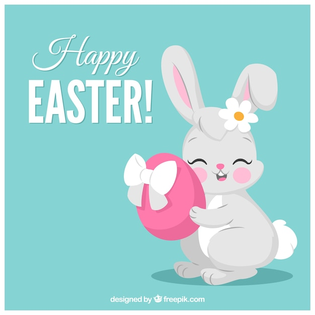Blue easter background with rabbit hugging an egg Free Vector