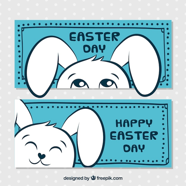 Blue easter banners with funny rabbit Free Vector