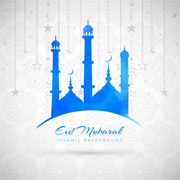 Blue eid mubarak background with mosque Vector  Free Download