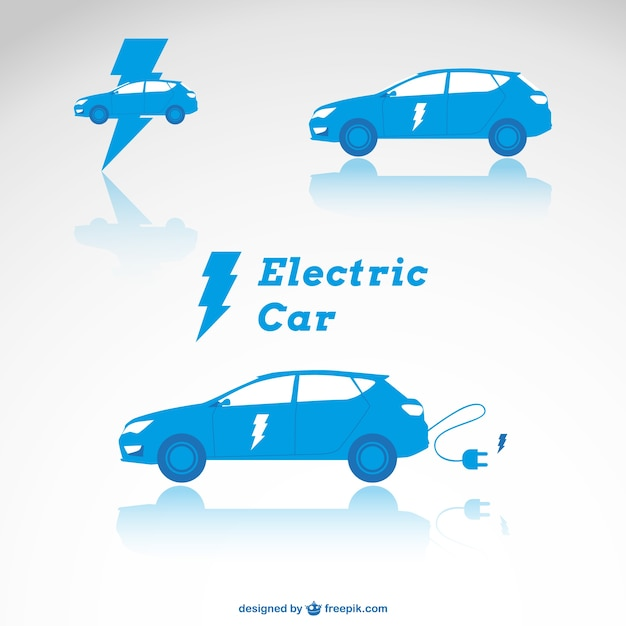 Blue electric cars Free Vector