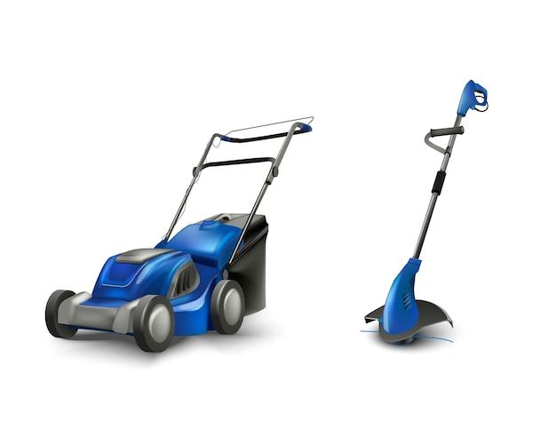 Blue electric lawn mower lawn mowing machine. Premium Vector