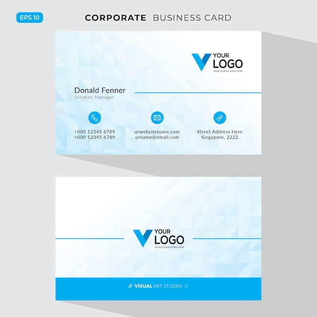Blue elegant corporate card Free Vector