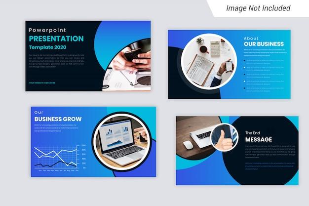 Blue element corporate business presentation slides design Premium Vector