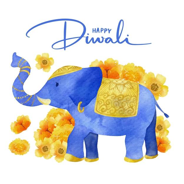 Blue elephant watercolor design diwali Free Vector