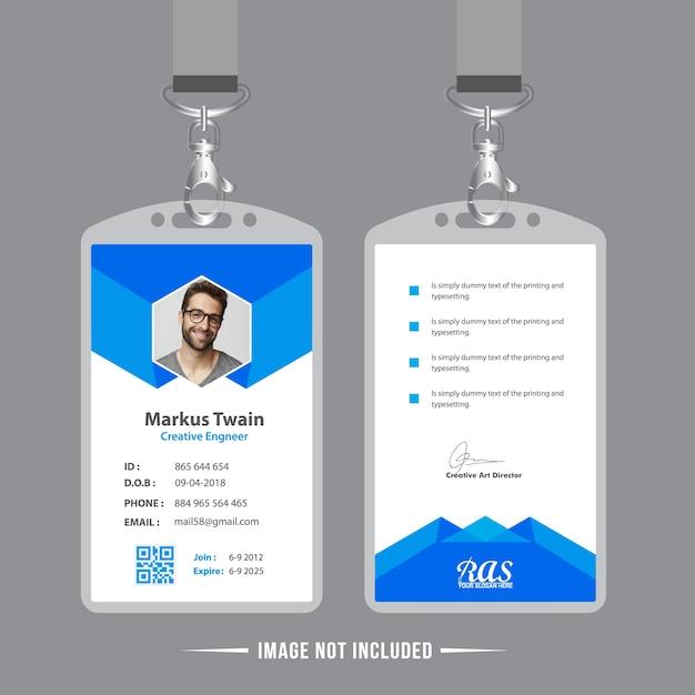 Blue Employee Id Card Design Template Vector