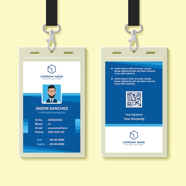 blue employee id card design template vector premium download