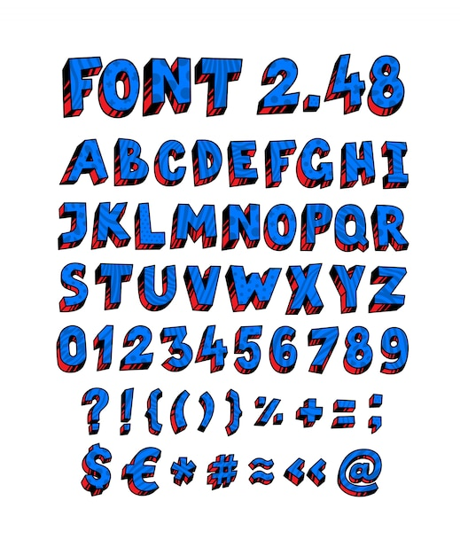 Blue english font Premium Vector