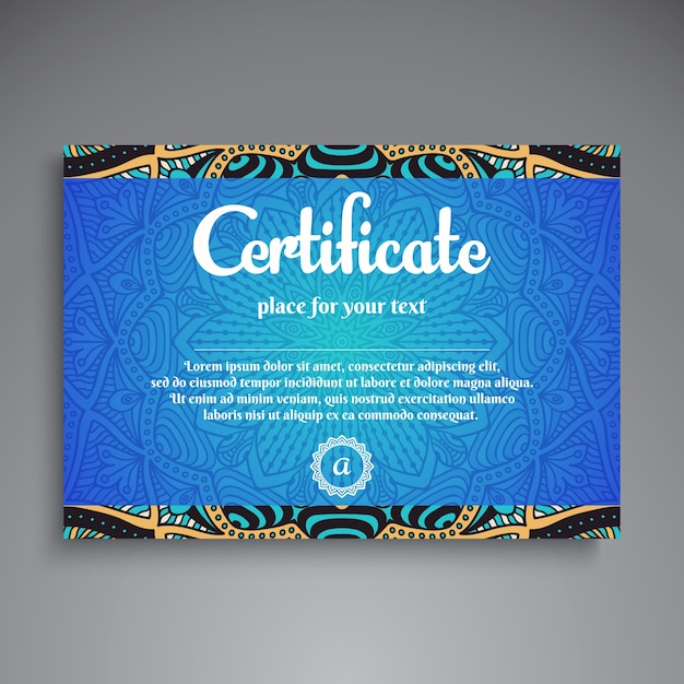 blue ethnic diploma template vector  blue ethnic diploma template vector