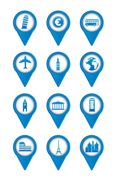 Blue europe icons over white background vector illustration Premium Vector
