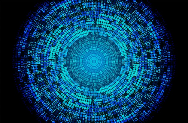 Blue eye binary cyber circuit future technology concept background Premium Vector