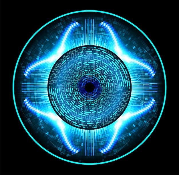 Blue eye cyber circuit future technology background Premium Vector