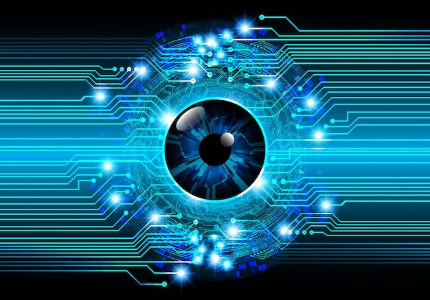 Blue eye cyber circuit future technology concept background Premium Vector