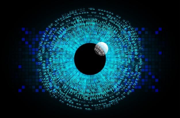 Blue eye cyber circuit future technology concept background Premium Vector