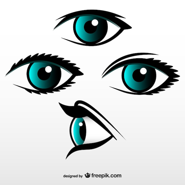 Blue eyes collection Free Vector