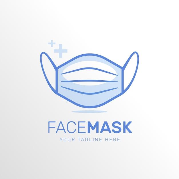 Blue face mask logo Premium Vector