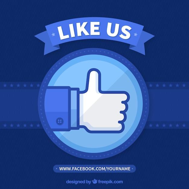 Blue facebook background in flat design Free Vector