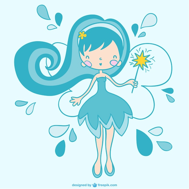 Blue fairy Free Vector