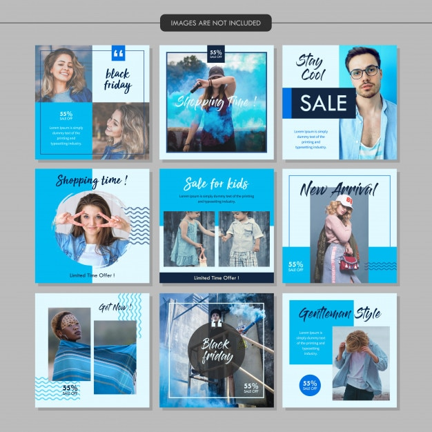 Blue fashion social media post template Premium Vector