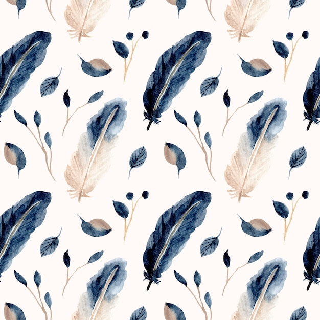 Blue feather and leaf watercolor seamless pattern Premium Vector