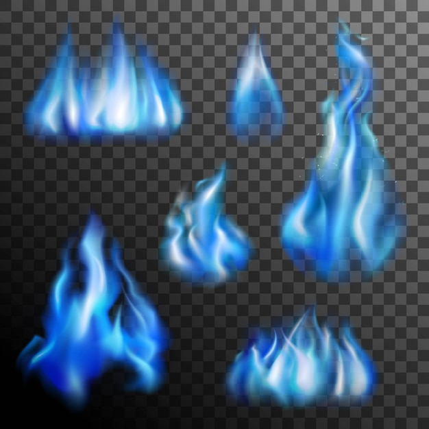 Blue fire transparent set Free Vector