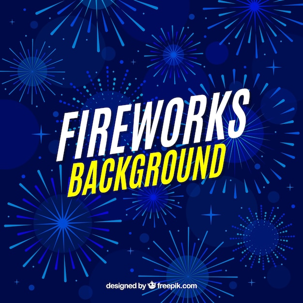 Blue fireworks background Free Vector