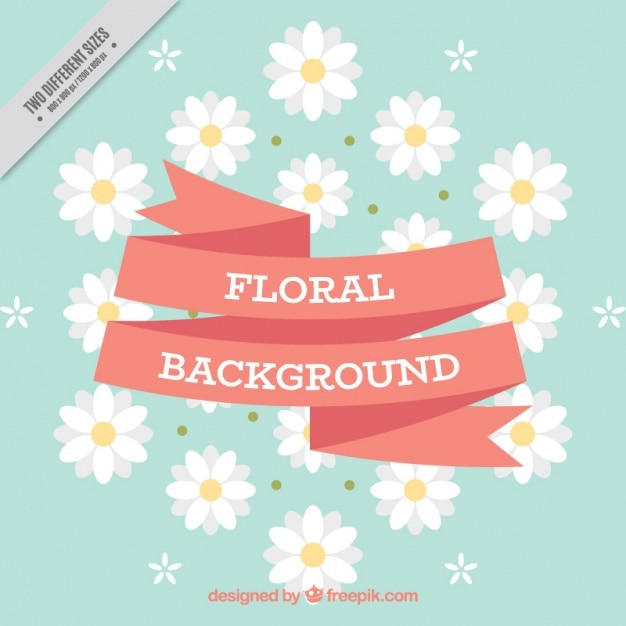 Blue Floral Background With Red Ribbon And White Flowers