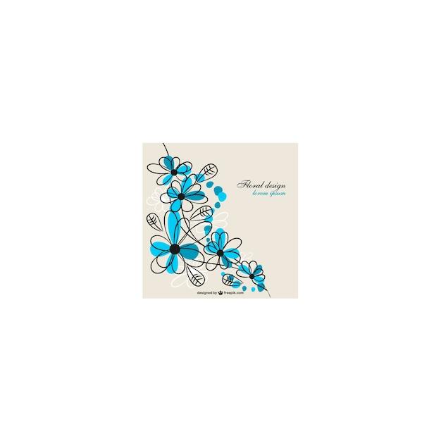 blue floral design vector free download
