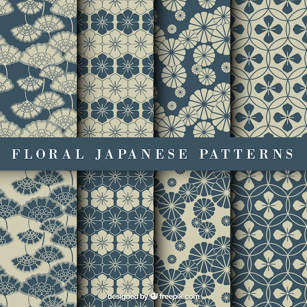 Blue floral japanese pattern Premium Vector