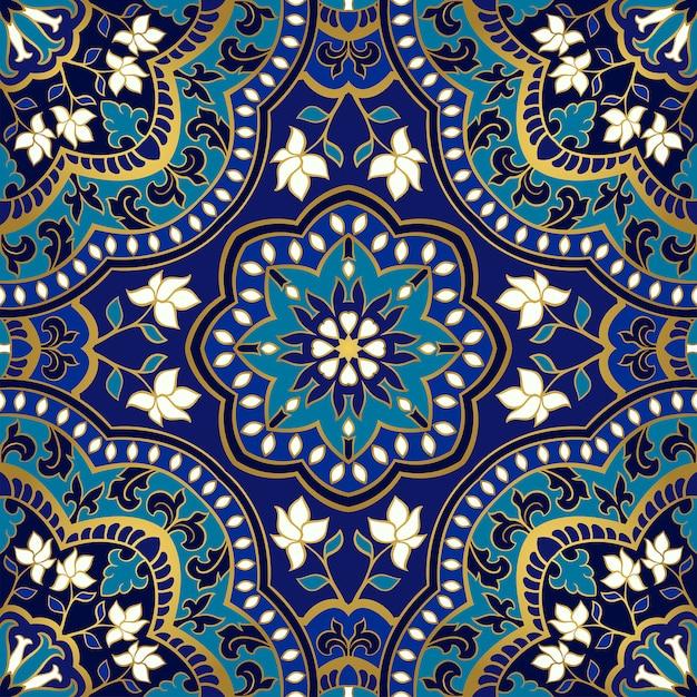 Синий цветочный узор. Premium векторы