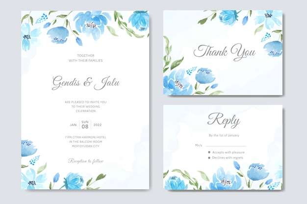 푸른 꽃 수채화 결혼식 초대장 서식 파일 설정 프리미엄 벡터