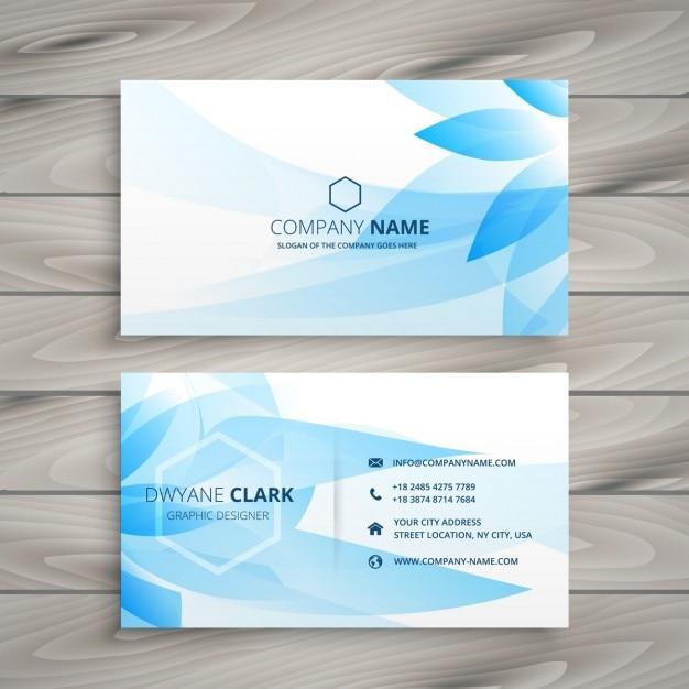 Blue flower business card Free Vector