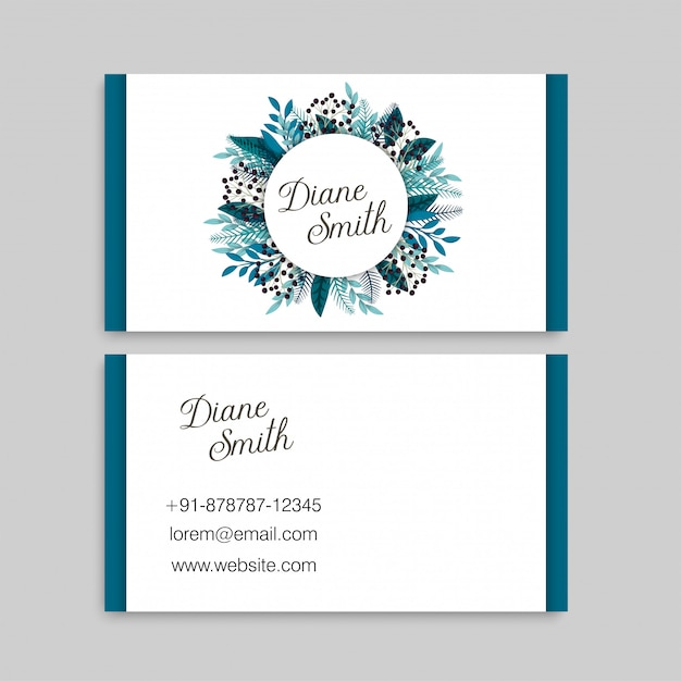 Blue flower business cards Free Vector