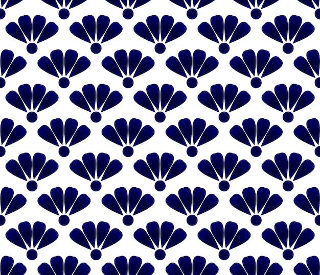 Blue flower ceramic pattern Premium Vector