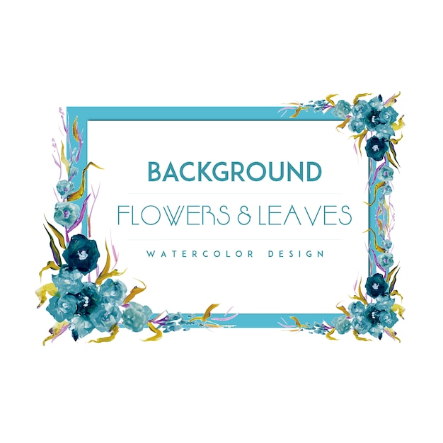 Blue flower frame background Vector | Free Download