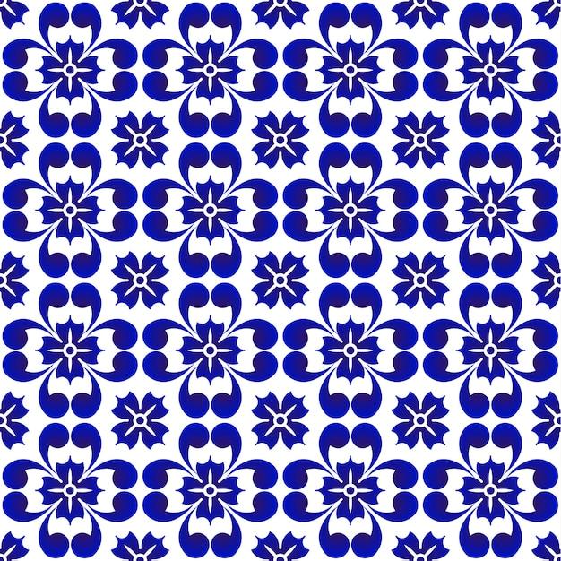 Blue flower pattern, ceramic seamless porcelain background, beautiful tile design, vector Premium Vector