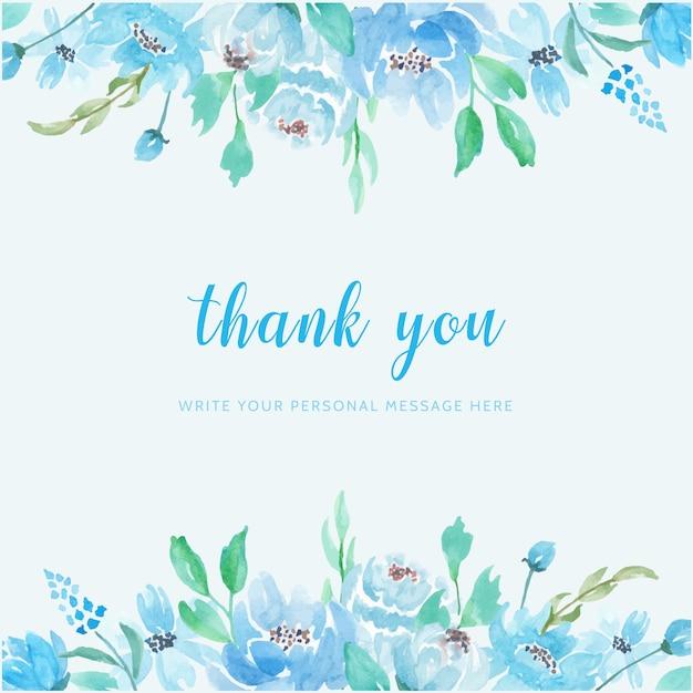 푸른 꽃 수채화 배경 감사 카드 프리미엄 벡터