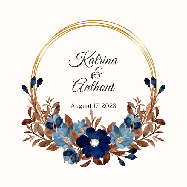 Blue flower wreath and brown leaves with watercolor Premium Vector