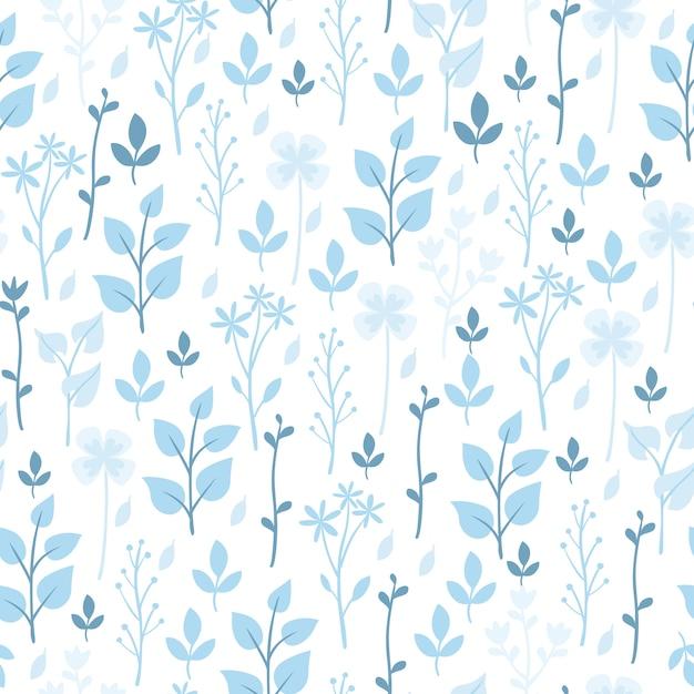 파란 꽃과 식물 패턴 무료 벡터