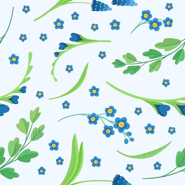 青い花の花のシームレスなパターン 無料ベクター