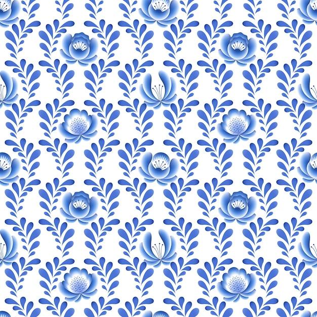 푸른 꽃 꽃 러시아 도자기 아름다운 민속 장식. 삽화. 원활한 패턴 배경입니다. 프리미엄 벡터