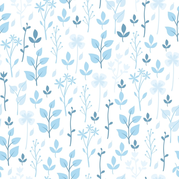 Blue flowers and plants pattern Free Vector