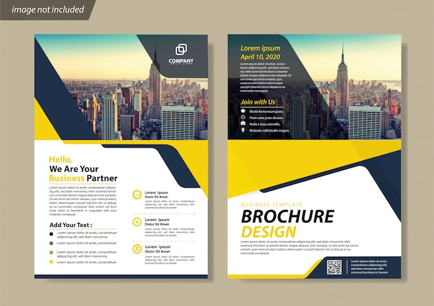 Blue flyer business template for brochure company Premium Vector
