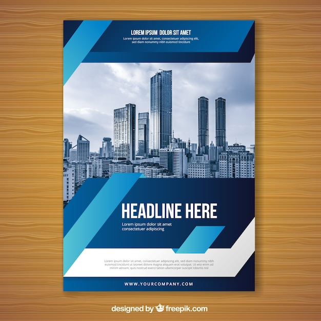 blue flyer design template free vector