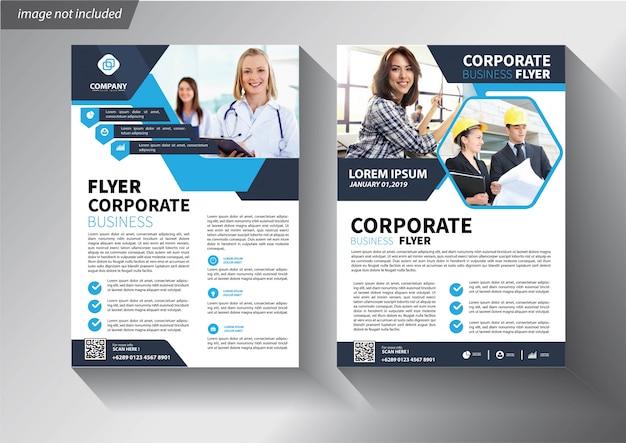 Blue flyer template for brochure corporate Premium Vector