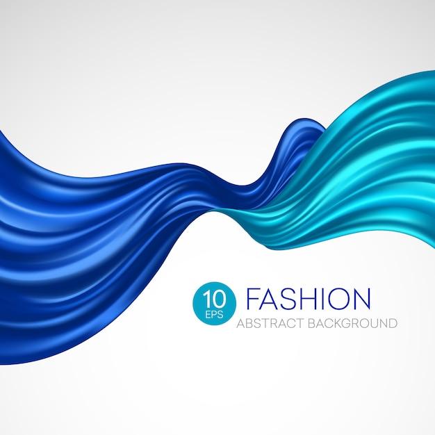 Синяя летающая шелковая ткань. fashibackground Premium векторы