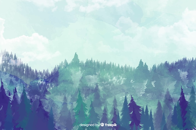 Blue forest watercolor landscape background Free Vector