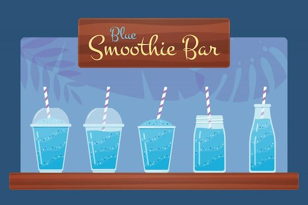 Синий свежий фруктовый коктейль или коктейльный набор. Premium векторы