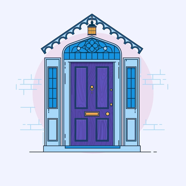urban decay logo vector. blue front door on the brick wall with lantern. vector building element urban decay logo